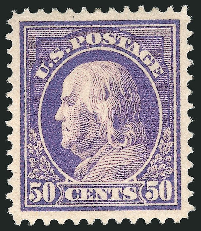 Values of US Stamp Scott 422: 50c 1914 Franklin Perf 12. Robert Siegel Auction Galleries, Feb 2015, Sale 1093, Lot 282