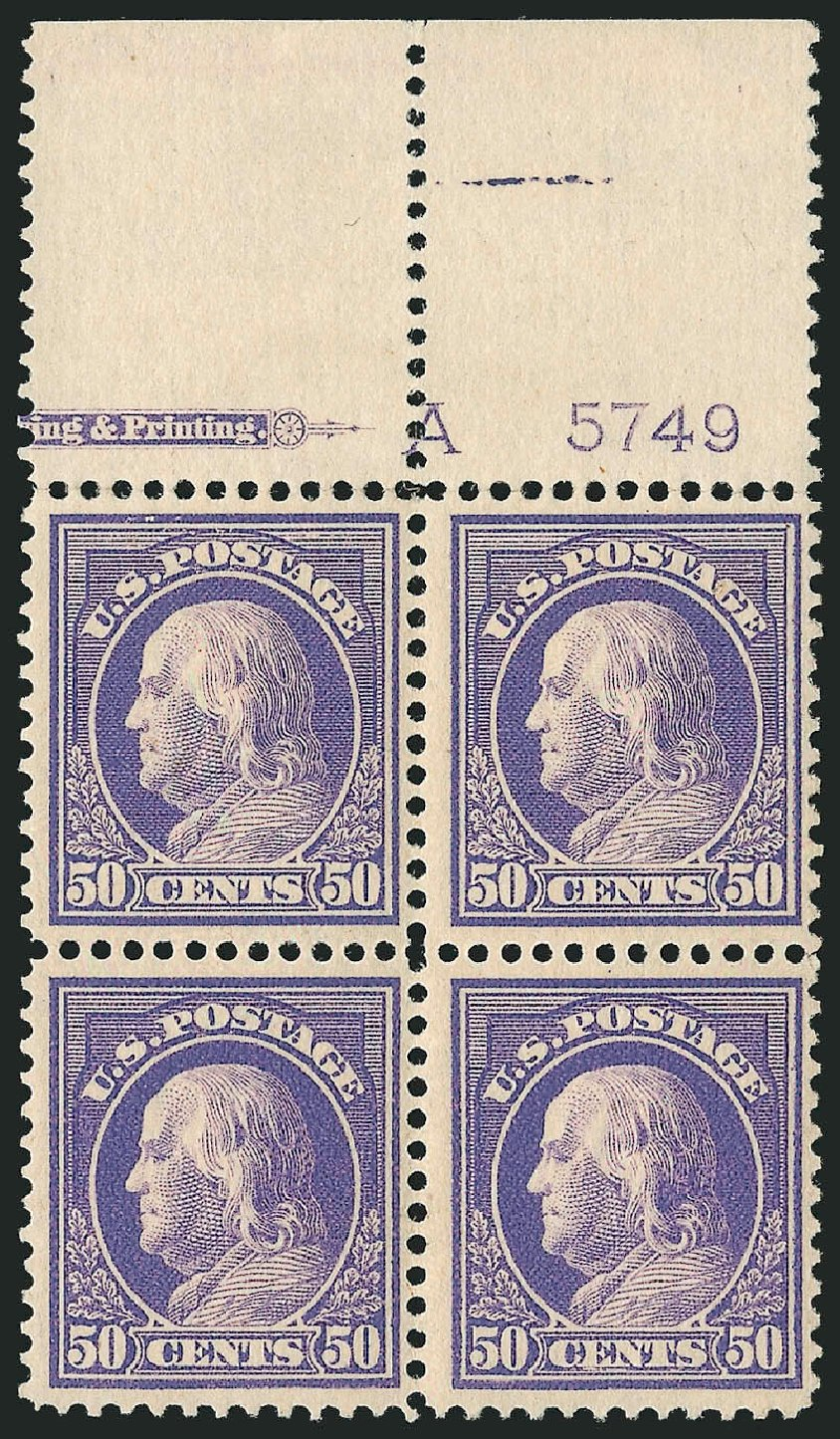 Prices of US Stamp Scott Catalog #422: 1914 50c Franklin Perf 12. Robert Siegel Auction Galleries, Apr 2015, Sale 1096, Lot 672