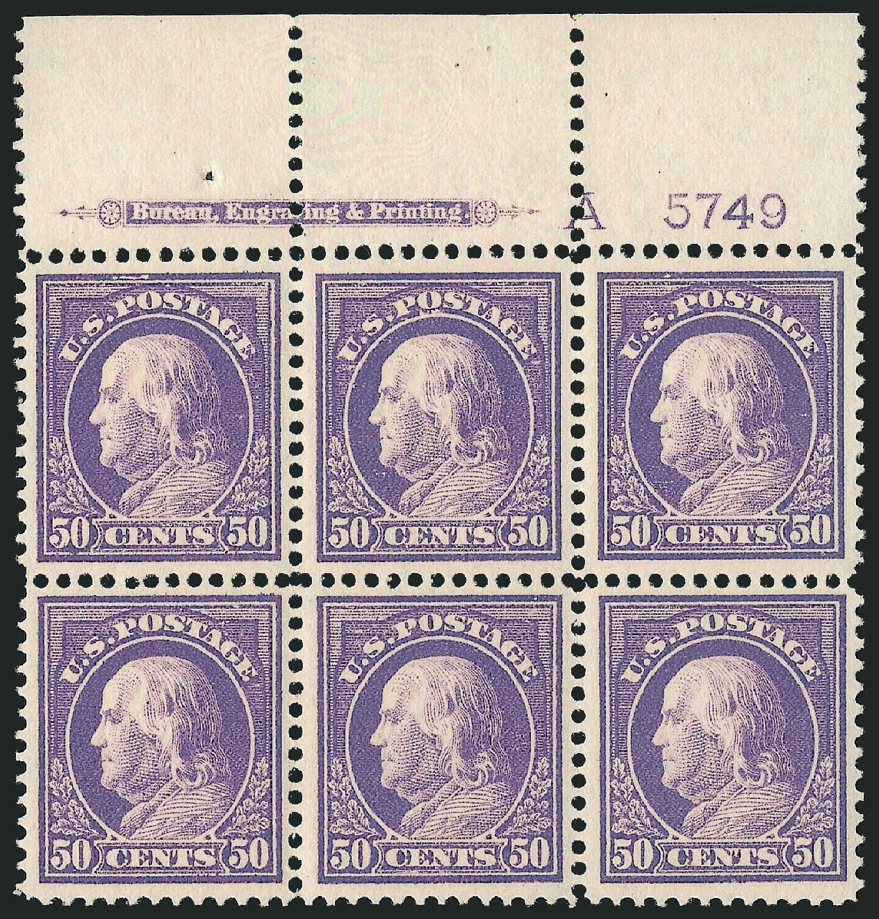 Price of US Stamps Scott Cat. #422 - 50c 1914 Franklin Perf 12. Robert Siegel Auction Galleries, Feb 2015, Sale 1093, Lot 283