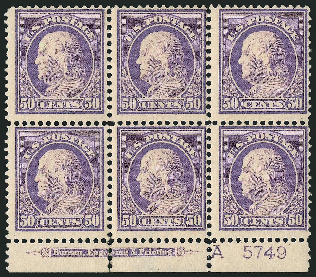 Prices of US Stamp Scott Cat. # 422 - 50c 1914 Franklin Perf 12. Robert Siegel Auction Galleries, Apr 2015, Sale 1096, Lot 673