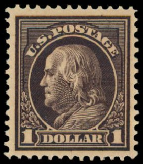 Cost of US Stamps Scott # 423 - US$1.00 1915 Franklin Perf 12. Daniel Kelleher Auctions, May 2015, Sale 669, Lot 3007