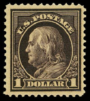 Value of US Stamps Scott Catalogue #423: 1915 US$1.00 Franklin Perf 12. Daniel Kelleher Auctions, May 2015, Sale 669, Lot 3008