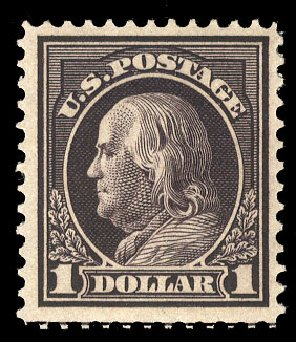 Price of US Stamps Scott Catalog # 423: US$1.00 1915 Franklin Perf 12. Cherrystone Auctions, Mar 2015, Sale 201503, Lot 49