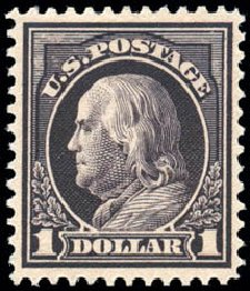 Cost of US Stamp Scott 423: US$1.00 1915 Franklin Perf 12. Schuyler J. Rumsey Philatelic Auctions, Apr 2015, Sale 60, Lot 2381