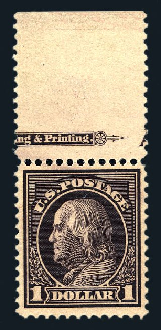 Cost of US Stamps Scott #423 - US$1.00 1915 Franklin Perf 12. Harmer-Schau Auction Galleries, Aug 2015, Sale 106, Lot 1814