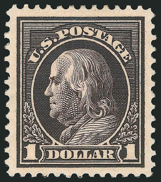 US Stamps Value Scott #423 - 1915 US$1.00 Franklin Perf 12. Robert Siegel Auction Galleries, Feb 2015, Sale 1093, Lot 285
