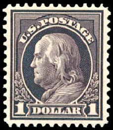 US Stamps Value Scott Catalogue 423: 1915 US$1.00 Franklin Perf 12. Schuyler J. Rumsey Philatelic Auctions, Apr 2015, Sale 60, Lot 2382