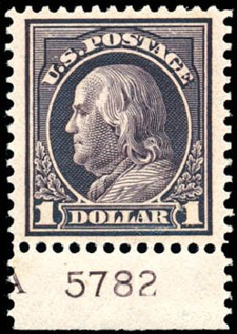 Price of US Stamps Scott Catalog # 423 - 1915 US$1.00 Franklin Perf 12. Schuyler J. Rumsey Philatelic Auctions, Apr 2015, Sale 60, Lot 2816