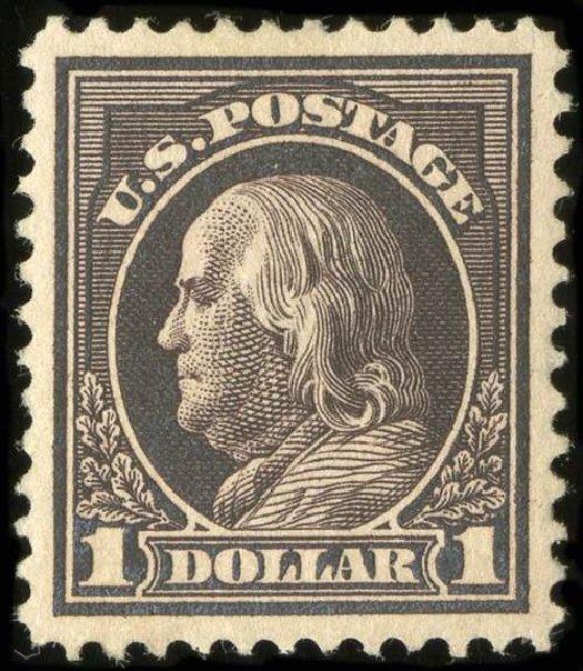 US Stamps Price Scott Catalog # 423: US$1.00 1915 Franklin Perf 12. Spink Shreves Galleries, Jul 2015, Sale 151, Lot 296