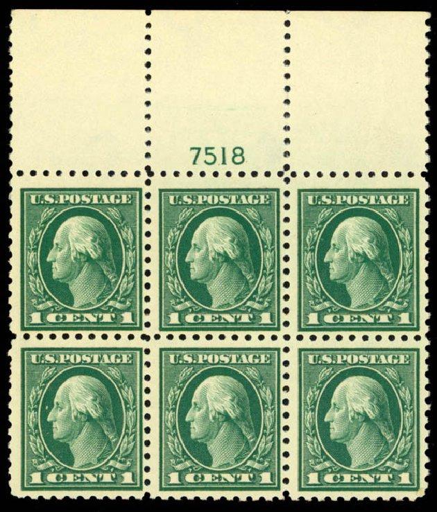 US Stamp Value Scott 424 - 1914 1c Washington Perf 10. Daniel Kelleher Auctions, Mar 2013, Sale 635, Lot 528