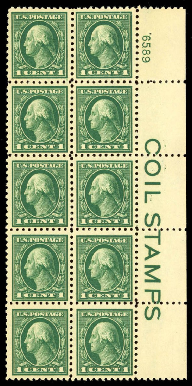 Prices of US Stamp Scott Catalog 424 - 1914 1c Washington Perf 10. Daniel Kelleher Auctions, Mar 2013, Sale 635, Lot 529