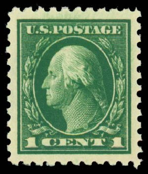 Value of US Stamps Scott #424 - 1c 1914 Washington Perf 10. Daniel Kelleher Auctions, Sep 2013, Sale 639, Lot 3539