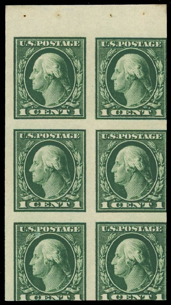 US Stamps Value Scott Catalog #424: 1914 1c Washington Perf 10. Daniel Kelleher Auctions, Aug 2012, Sale 631, Lot 1391
