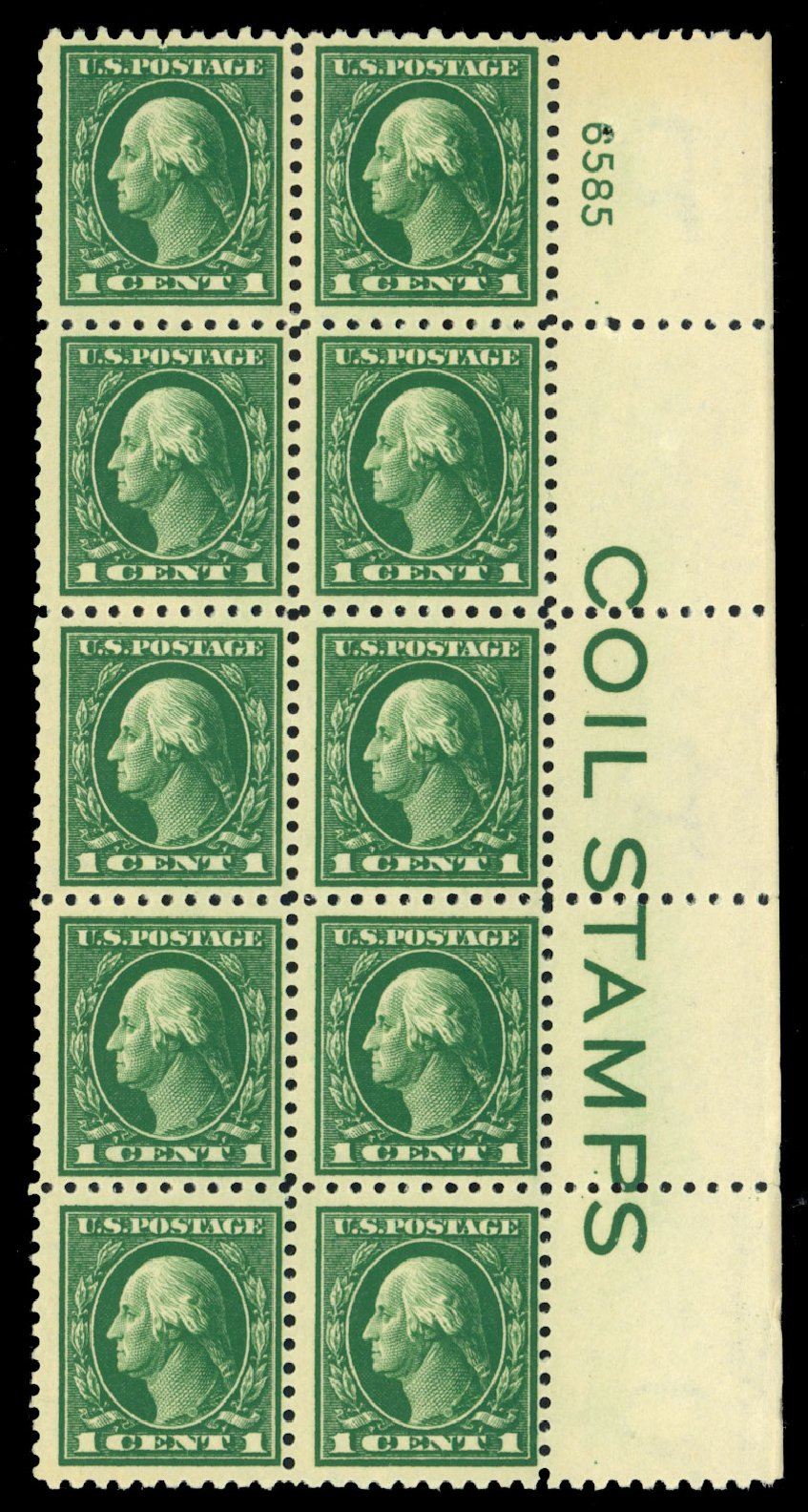 US Stamps Prices Scott Catalog # 424 - 1c 1914 Washington Perf 10. Daniel Kelleher Auctions, Dec 2013, Sale 640, Lot 374