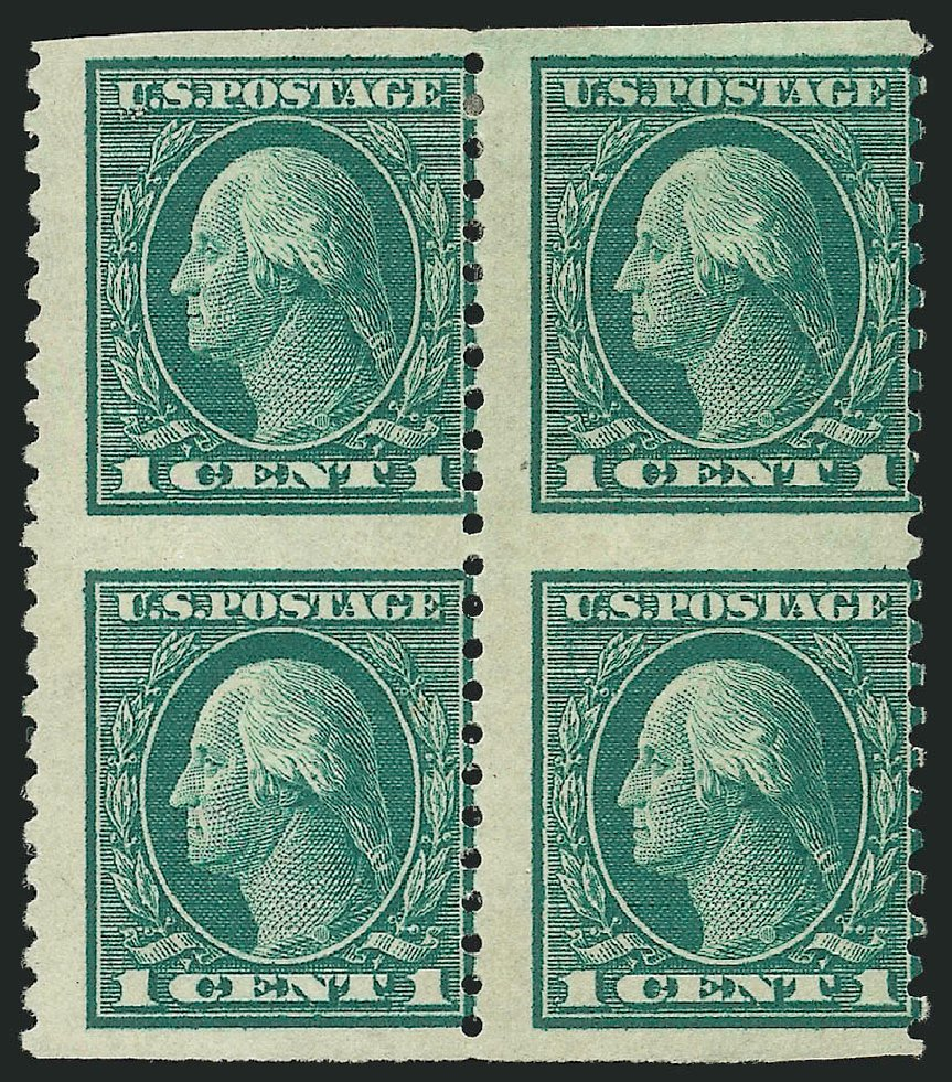 Value of US Stamps Scott Catalogue 424: 1914 1c Washington Perf 10. Robert Siegel Auction Galleries, Feb 2015, Sale 1093, Lot 292