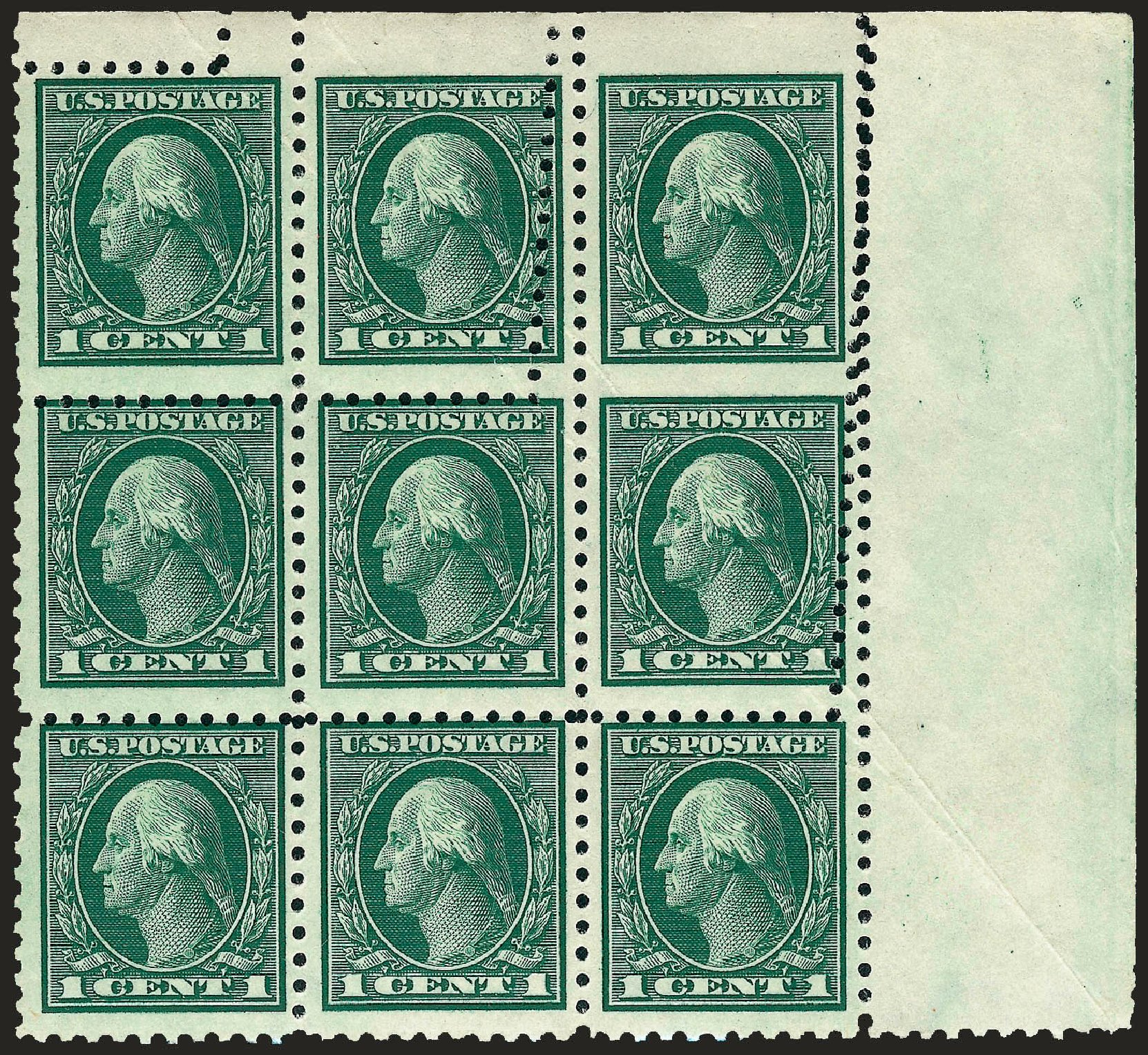 Costs of US Stamps Scott Catalogue 424: 1914 1c Washington Perf 10. Robert Siegel Auction Galleries, Sep 2009, Sale 968B, Lot 543
