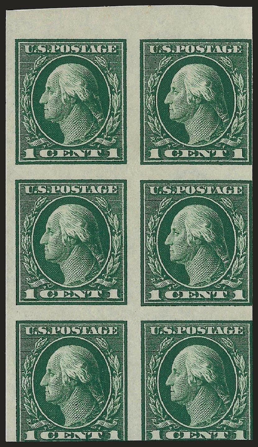 US Stamps Value Scott Cat. 424: 1914 1c Washington Perf 10. Robert Siegel Auction Galleries, Jun 2010, Sale 991, Lot 1223
