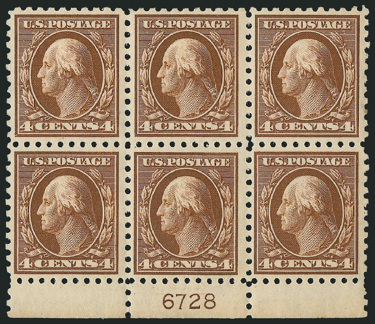 US Stamps Values Scott Catalog #427: 4c 1914 Washington Perf 10. Robert Siegel Auction Galleries, Mar 2014, Sale 1067, Lot 1517