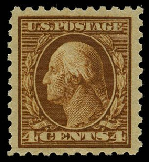 US Stamp Prices Scott Catalog # 427: 4c 1914 Washington Perf 10. Daniel Kelleher Auctions, May 2015, Sale 669, Lot 3010