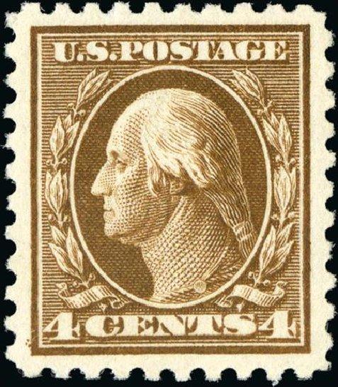 Values of US Stamp Scott Cat. #427 - 1914 4c Washington Perf 10. Spink Shreves Galleries, Jan 2015, Sale 150, Lot 170