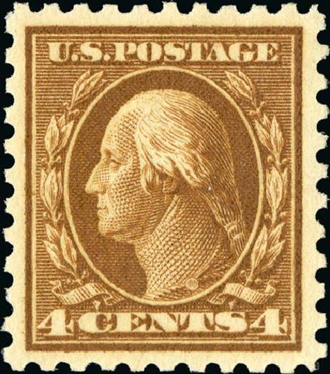 US Stamps Value Scott 427 - 1914 4c Washington Perf 10. Spink Shreves Galleries, Jan 2015, Sale 150, Lot 171