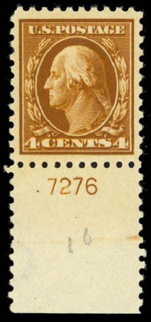 US Stamps Values Scott Catalog # 427 - 1914 4c Washington Perf 10. Daniel Kelleher Auctions, Mar 2013, Sale 635, Lot 532