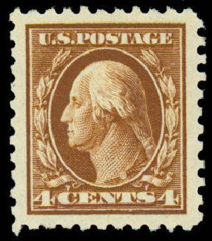 Costs of US Stamp Scott #427: 1914 4c Washington Perf 10. Daniel Kelleher Auctions, Sep 2013, Sale 639, Lot 3542