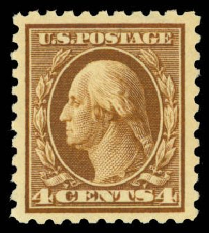 Prices of US Stamps Scott Catalogue 427 - 4c 1914 Washington Perf 10. Daniel Kelleher Auctions, Mar 2013, Sale 635, Lot 533