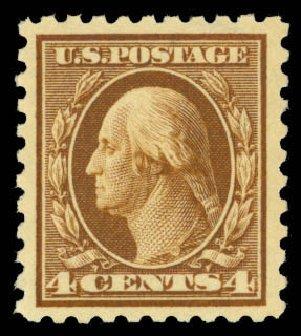 Prices of US Stamps Scott Catalogue 427 - 4c 1914 Washington Perf 10. Daniel Kelleher Auctions, Mar 2013, Sale 635, Lot 533