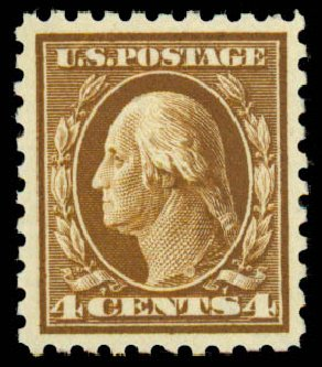 US Stamps Value Scott Cat. 427: 1914 4c Washington Perf 10. Daniel Kelleher Auctions, Sep 2013, Sale 639, Lot 3543