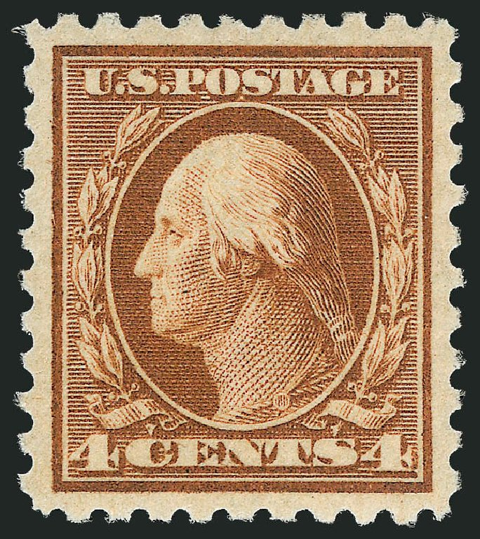 US Stamps Price Scott 427 - 1914 4c Washington Perf 10. Robert Siegel Auction Galleries, Mar 2014, Sale 1067, Lot 1516