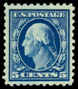 Values of US Stamp Scott #428 - 5c 1914 Washington Perf 10. Daniel Kelleher Auctions, Dec 2014, Sale 661, Lot 357