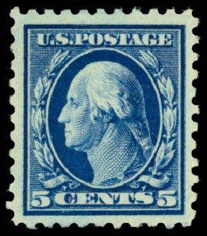 Values of US Stamp Scott #428 - 5c 1914 Washington Perf 10. Daniel Kelleher Auctions, Dec 2014, Sale 661, Lot 357