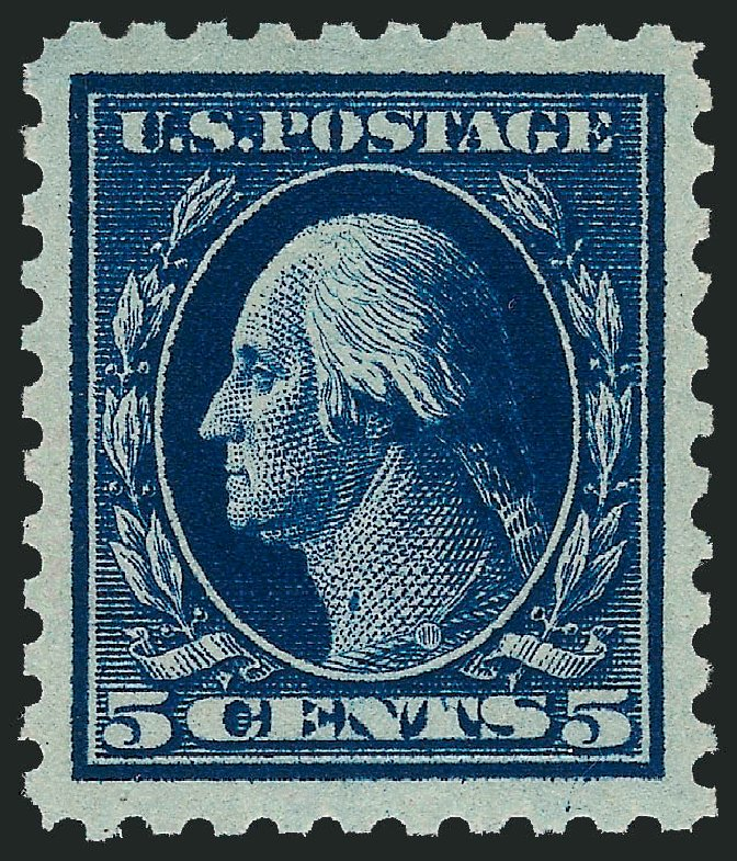 US Stamps Prices Scott Catalog 428 - 1914 5c Washington Perf 10. Robert Siegel Auction Galleries, Dec 2013, Sale 1062, Lot 611