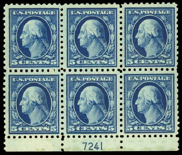 Values of US Stamps Scott Cat. 428 - 5c 1914 Washington Perf 10. Daniel Kelleher Auctions, Aug 2015, Sale 672, Lot 2724