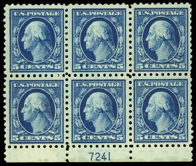 Values of US Stamps Scott Cat. 428 - 5c 1914 Washington Perf 10. Daniel Kelleher Auctions, Aug 2015, Sale 672, Lot 2724