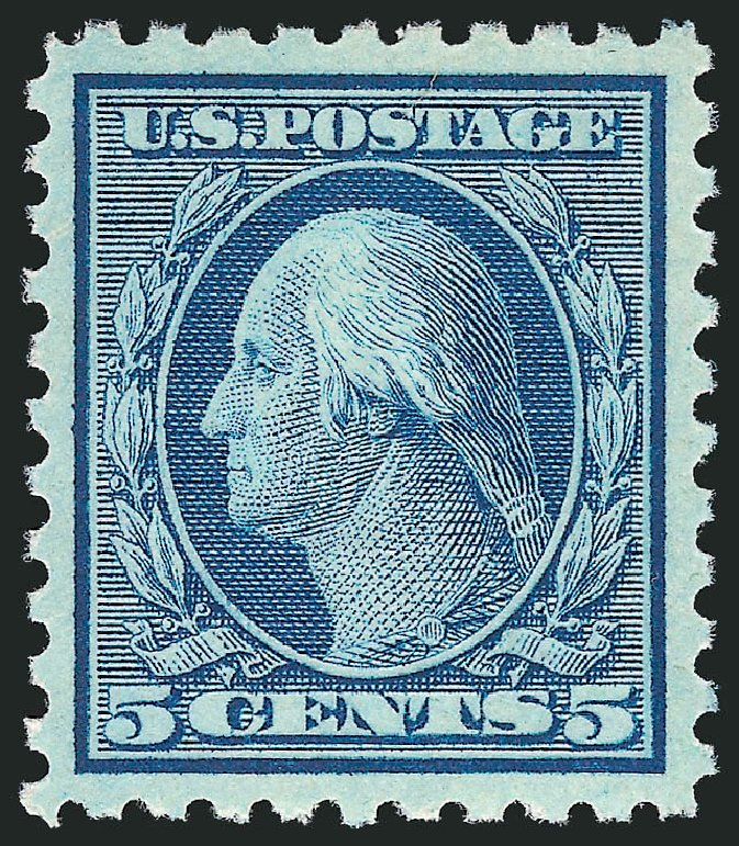 US Stamps Values Scott Catalogue # 428 - 1914 5c Washington Perf 10. Robert Siegel Auction Galleries, Feb 2015, Sale 1093, Lot 294