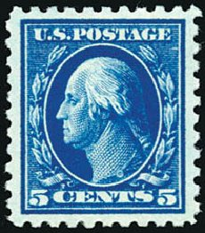 Value of US Stamp Scott # 428: 1914 5c Washington Perf 10. Schuyler J. Rumsey Philatelic Auctions, Apr 2015, Sale 60, Lot 2383