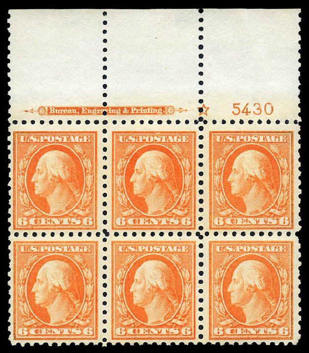US Stamp Values Scott Catalog # 429 - 1914 6c Washington Perf 10. Matthew Bennett International, May 2014, Sale 350, Lot 579