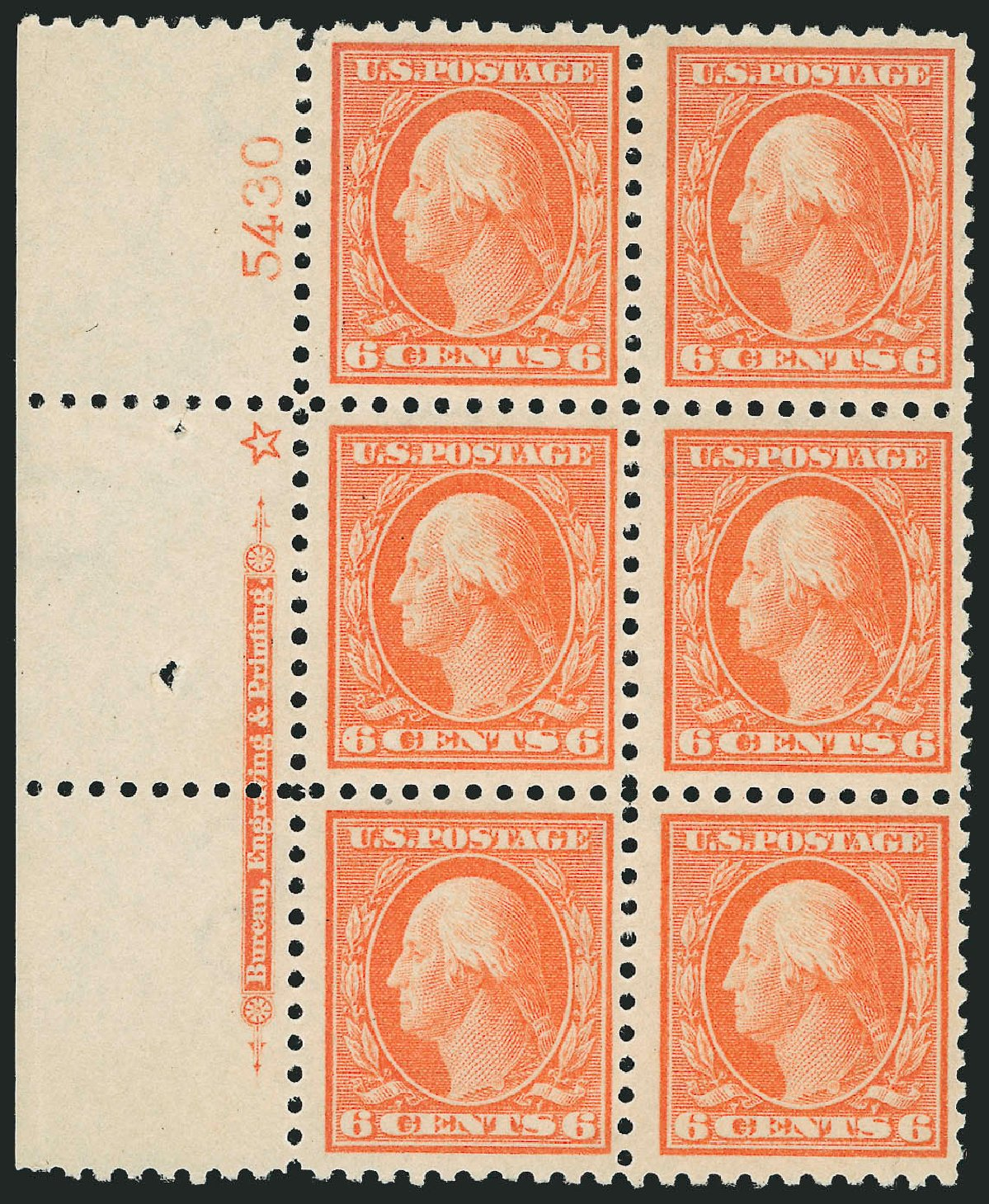 Cost of US Stamps Scott Catalog #429: 1914 6c Washington Perf 10. Robert Siegel Auction Galleries, Mar 2014, Sale 1067, Lot 1519