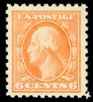 US Stamp Values Scott 429 - 1914 6c Washington Perf 10. Daniel Kelleher Auctions, Mar 2013, Sale 635, Lot 534