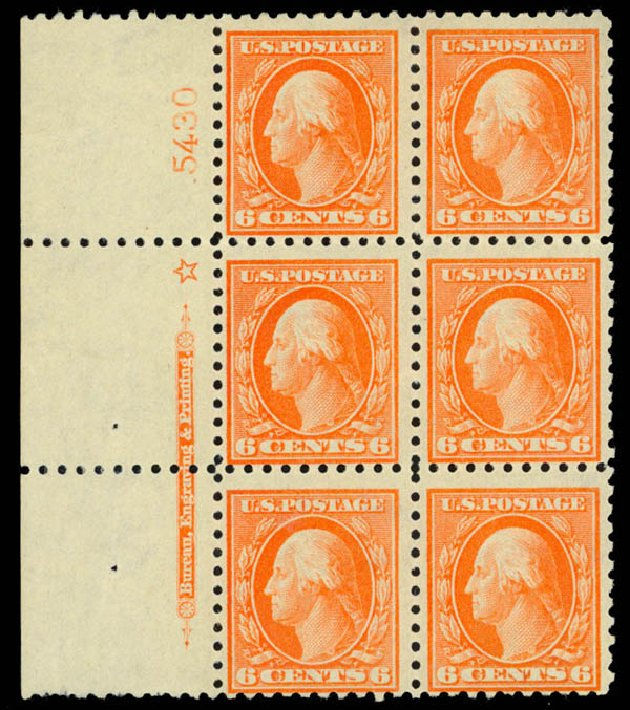 US Stamps Values Scott Catalogue # 429: 1914 6c Washington Perf 10. Daniel Kelleher Auctions, Mar 2013, Sale 635, Lot 535