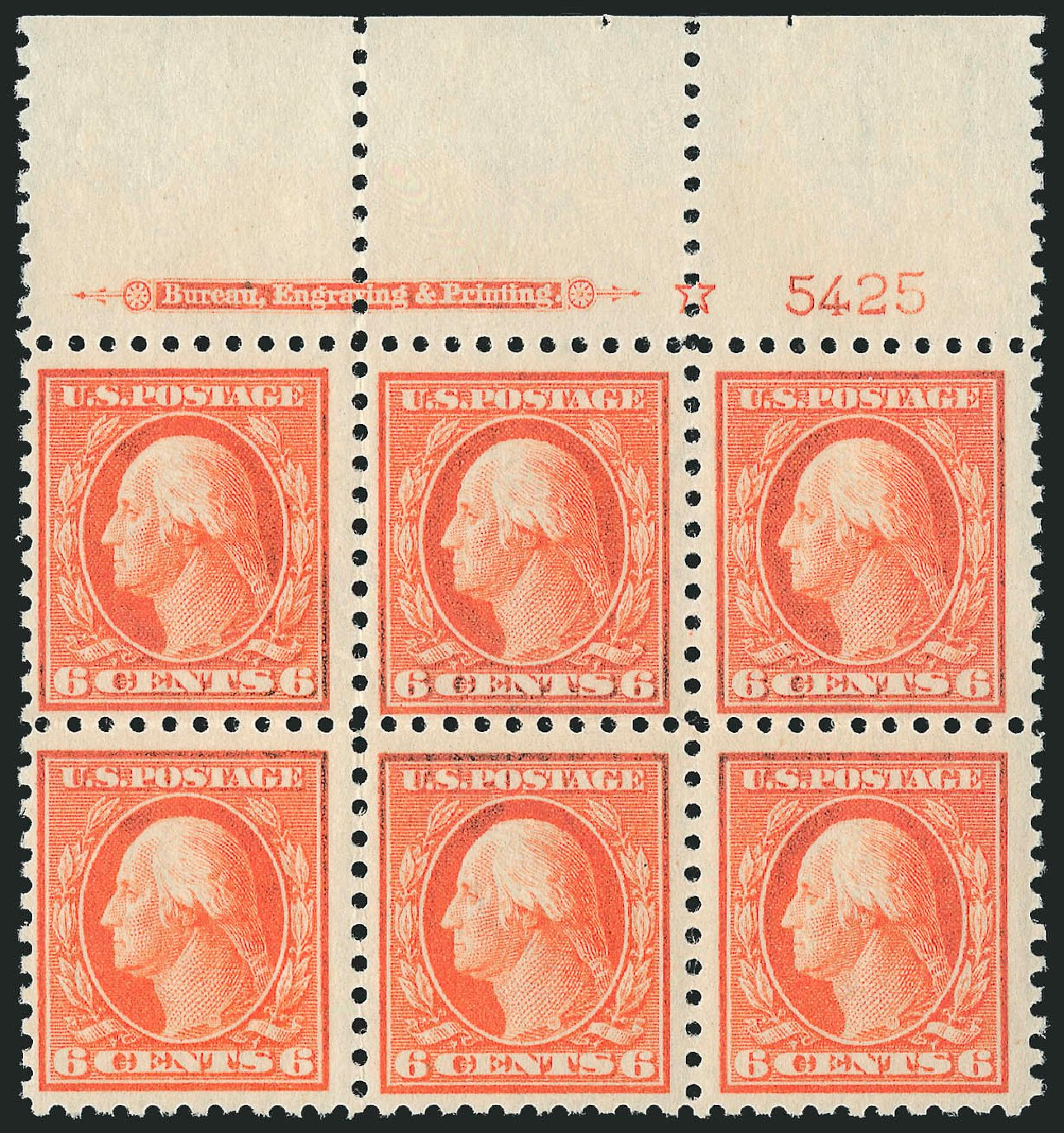 Value of US Stamp Scott Cat. # 429 - 1914 6c Washington Perf 10. Robert Siegel Auction Galleries, Sep 2014, Sale 1078, Lot 525