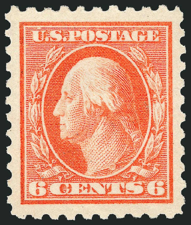 US Stamp Value Scott Catalogue 429: 6c 1914 Washington Perf 10. Robert Siegel Auction Galleries, Dec 2013, Sale 1062, Lot 612