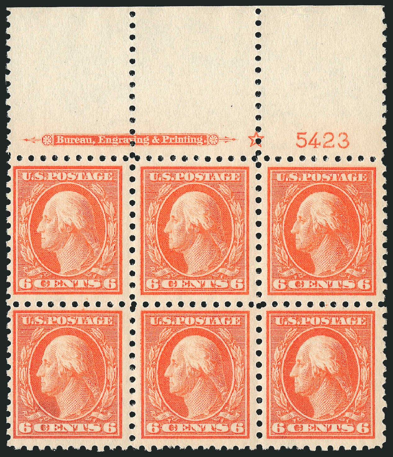 Values of US Stamps Scott Cat. # 429: 6c 1914 Washington Perf 10. Robert Siegel Auction Galleries, Jul 2014, Sale 1077, Lot 263