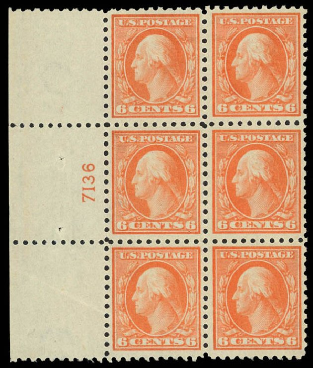 US Stamps Value Scott Catalog # 429 - 6c 1914 Washington Perf 10. Daniel Kelleher Auctions, Sep 2013, Sale 639, Lot 3546