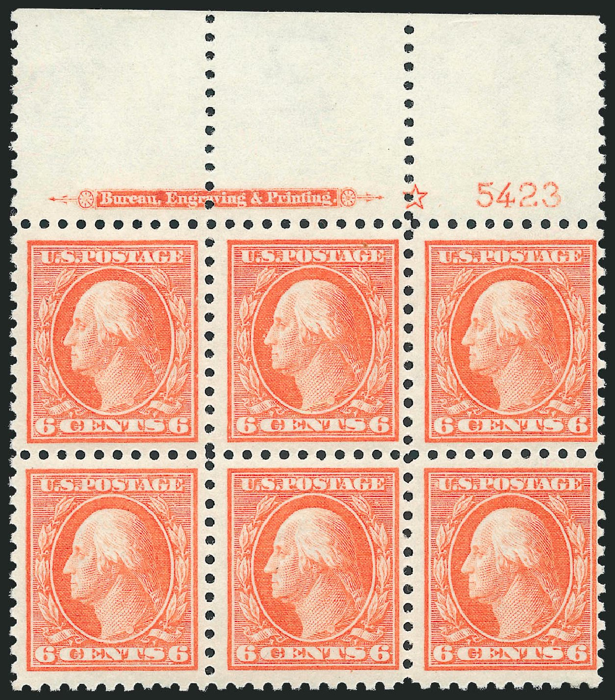 6c Red Orange Scott 429 Mint N H Wide Top Imprint Star And Plate No 5423 Block Of Six Fresh Attractive Bright Pastel Color Fine Very Fine