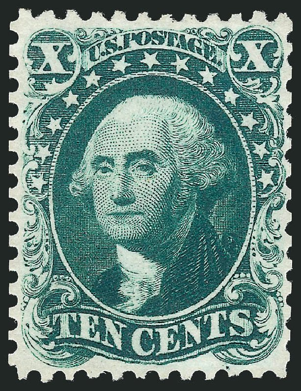 US Stamps Values Scott Catalogue 43: 10c 1875 Washington Reprint. Robert Siegel Auction Galleries, Dec 2014, Sale 1090, Lot 1183
