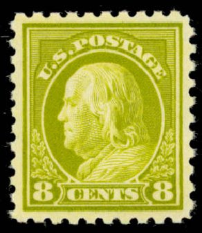 Cost of US Stamp Scott Catalogue # 431 - 1914 8c Franklin Perf 10. Daniel Kelleher Auctions, Jan 2015, Sale 663, Lot 1787