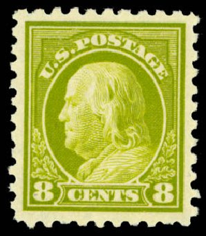 Costs of US Stamp Scott #431 - 8c 1914 Franklin Perf 10. Daniel Kelleher Auctions, Dec 2013, Sale 640, Lot 378